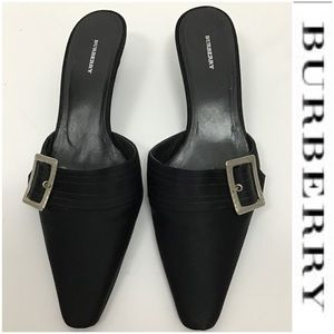 Burberry Black Fabric Slides with Buckle